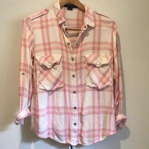 Sanctuary Steady Boyfriend Shirt Pink Plaid Small